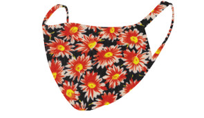 2 Layer Reusable Mask-Black Orange Floral