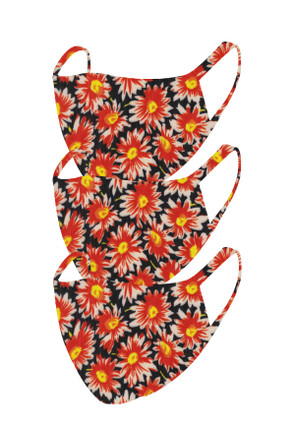 2 Layer Reusable Mask- Black Orange Floral (3 Pack)