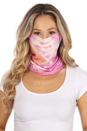 Fashion Neck Gaiter and Face Covering - Orange Fuchsia Tie Dye