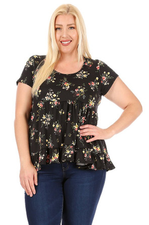 Plus Short Sleeve Babydoll Top