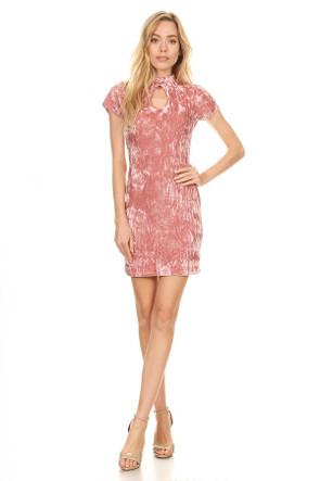 Double Keyhole Velvet Mini Dress