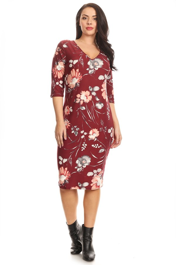 Plus Elbow Sleeve Floral Midi Dress - VIBE Apparel Co.