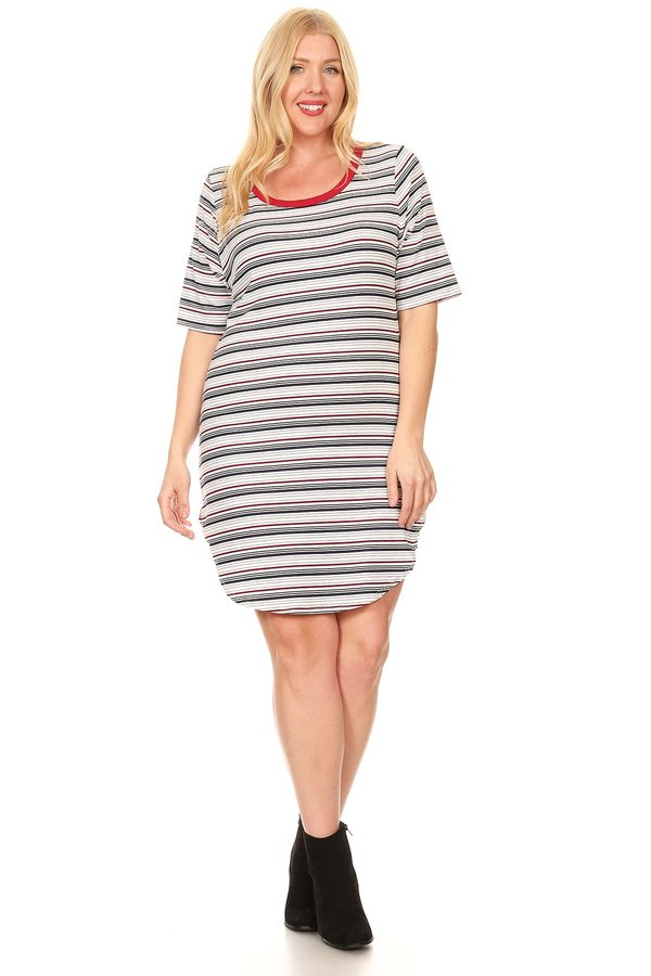 12097f0cefa56 Plus Ribbed Tee Dress. Tap to expand. Previous. NAVY WINE IVORY