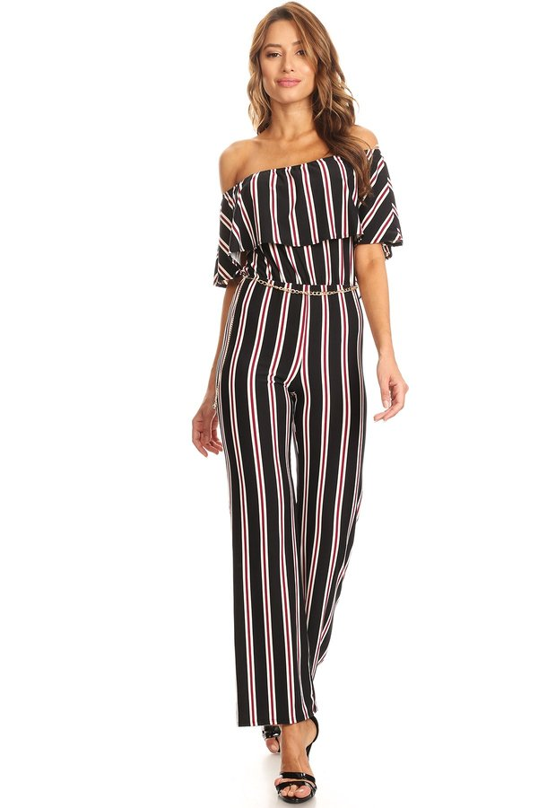 fcd1a1f82c5 Striped Knit Off The Shoulder Jumpsuit - VIBE Apparel Co.