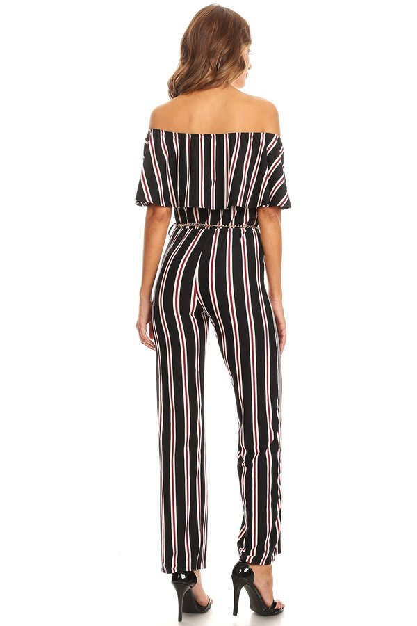 cfe887f3e8 Striped Knit Off The Shoulder Jumpsuit - VIBE Apparel Co.