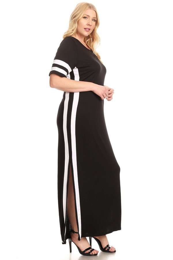 Plus Varsity Stripe Side Split Maxi Dress Vibe Apparel Co