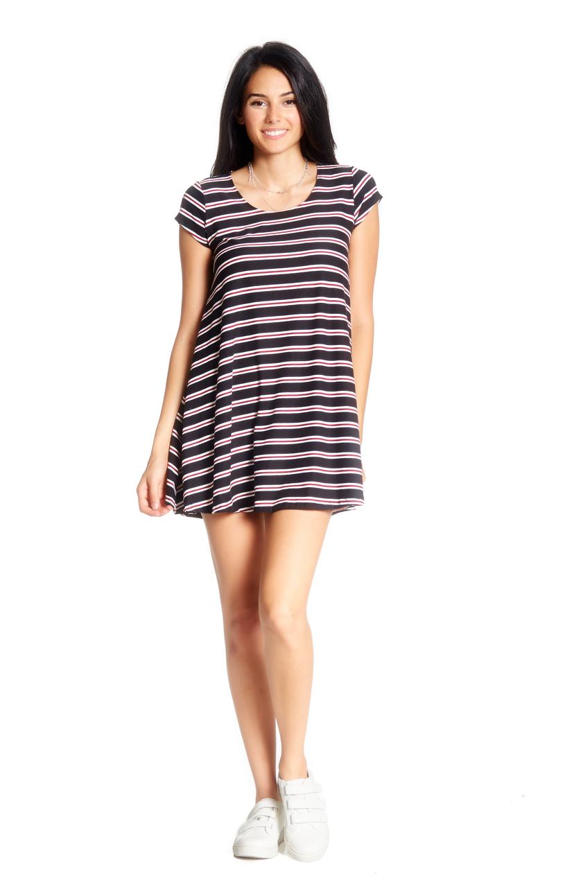 c7a55596b16f Stripe Cap Sleeve Swing Dress - VIBE Apparel Co.