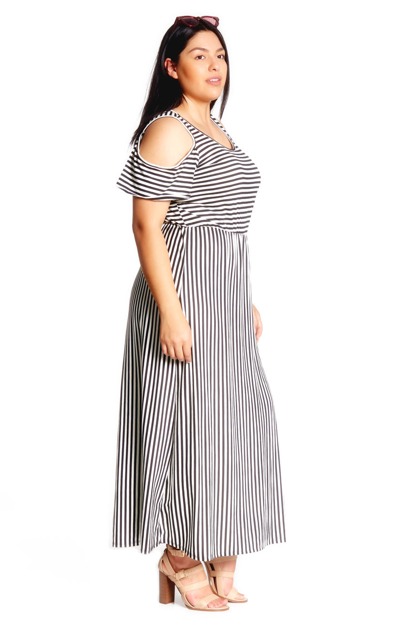 f76e7a2c5b Plus Cold Shoulder Maxi Dress. Tap to expand. Previous. BLACK WHITE 1385