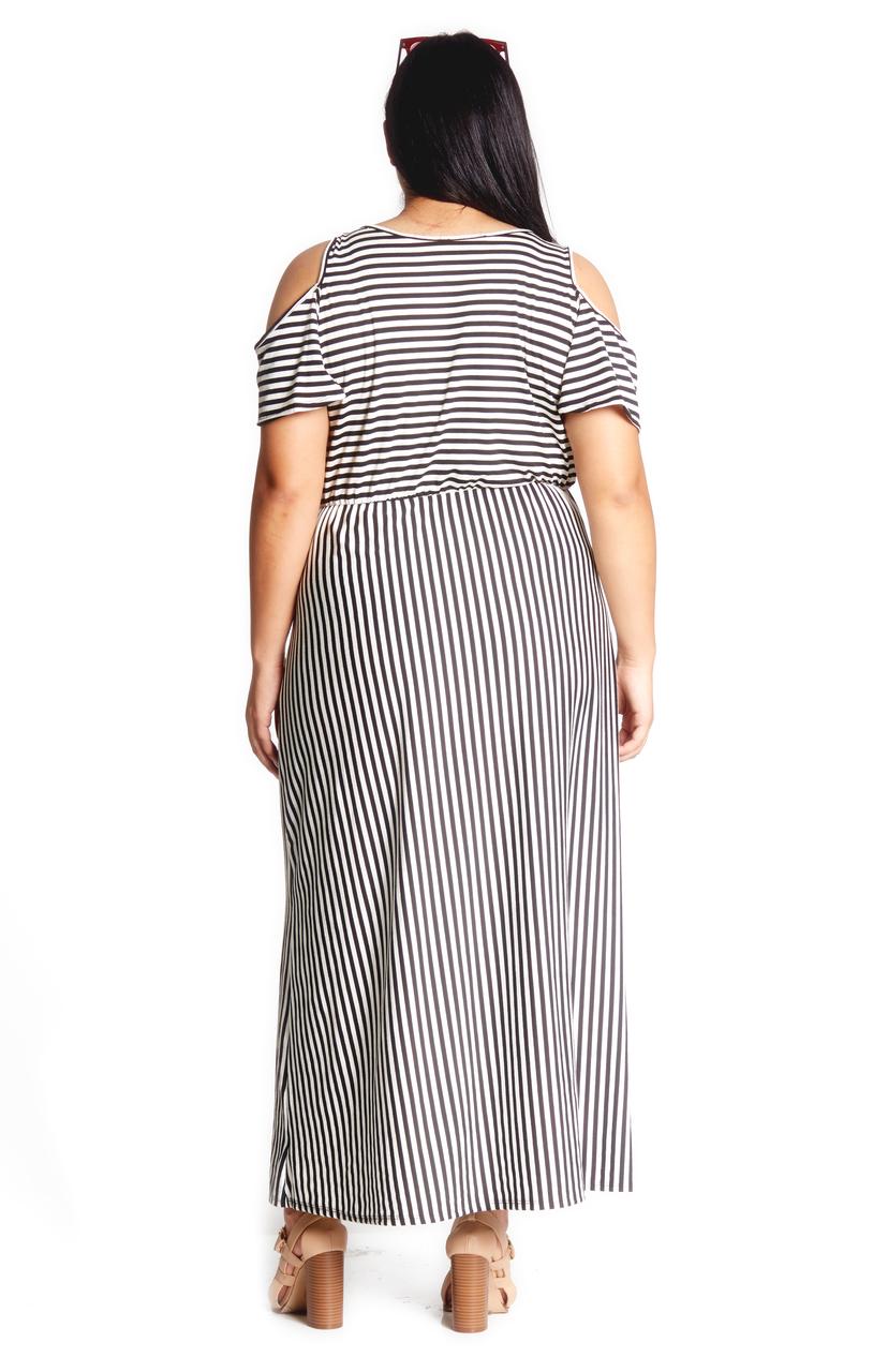 a96a8a0c68 Plus Cold Shoulder Maxi Dress. Tap to expand. Previous. BLACK WHITE 1385.  BLACK WHITE 1385