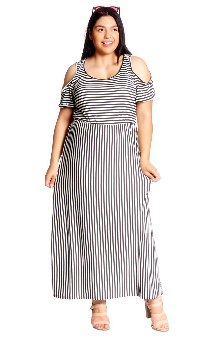 Plus Cold Shoulder Maxi Dress - VIBE Apparel Co.