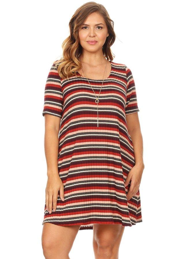 567e414c7cb7 Plus Ribbed T-Shirt Swing Dress - VIBE Apparel Co.