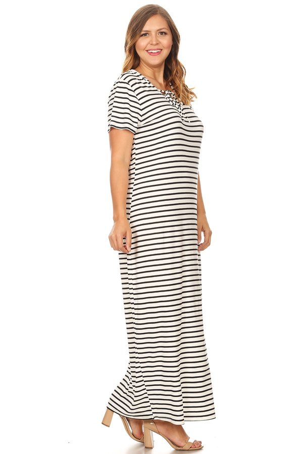 Plus Stripe Lace Up Hooded Maxi Dress Vibe Apparel Co