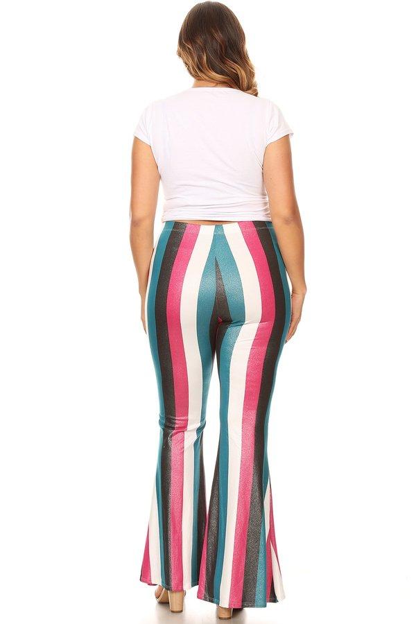 093c65eba1 Plus Glittery Stripe Wide Leg Flare Pant - VIBE Apparel Co.