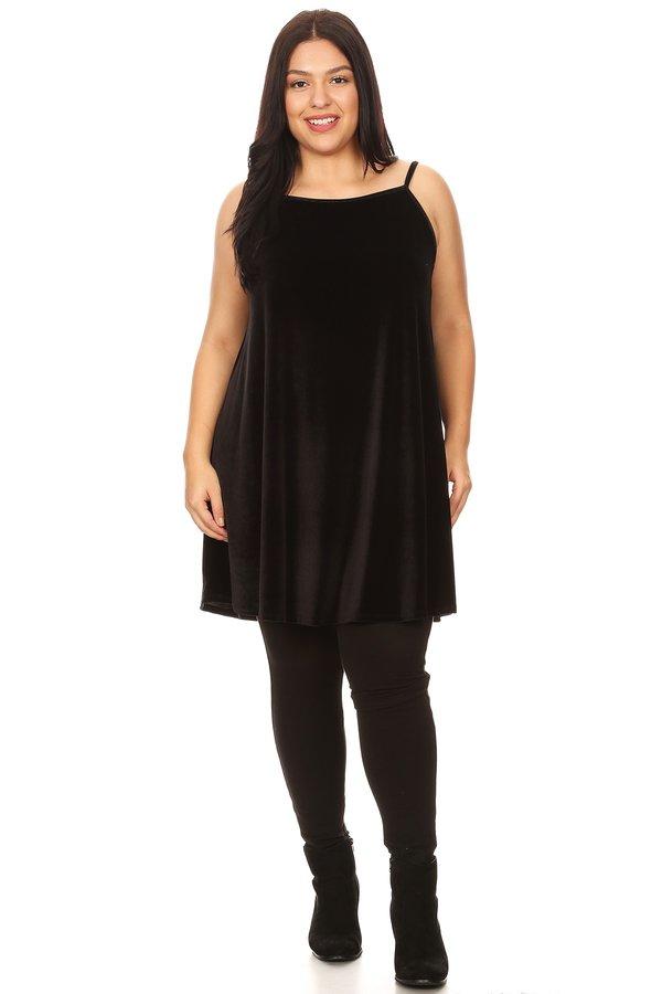 Plus Velvet Babydoll Swing Dress - VIBE Apparel Co.