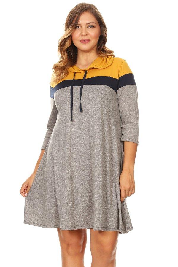 Plus Colorblock Hoodie Dress - VIBE Apparel Co.
