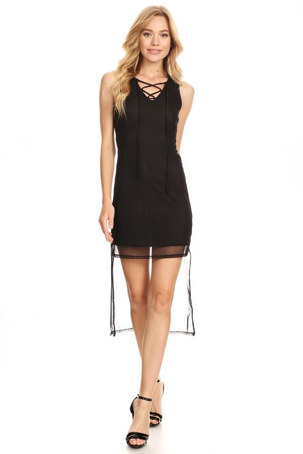 Mesh Hi Lo Tank Dress Vibe Apparel Co