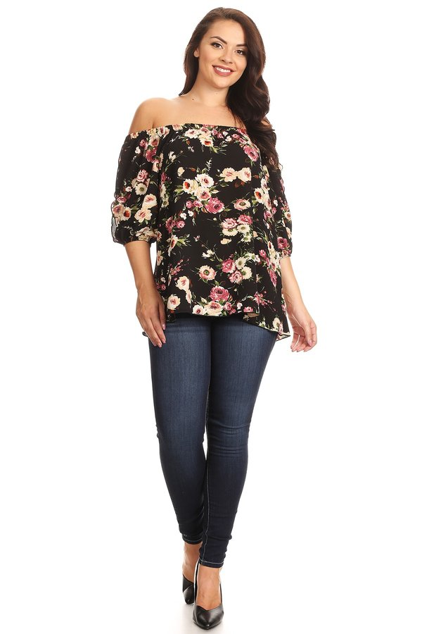 d4fdbf89488 Plus Off The Shoulder Split Sleeve Top - VIBE Apparel Co.