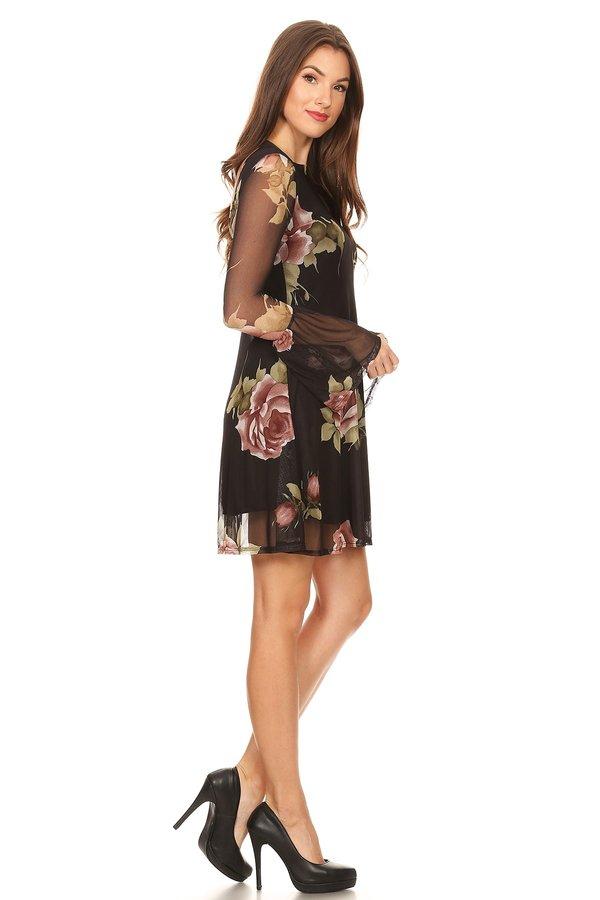 f9e25f6d978a Mesh Bell Sleeve Dress - VIBE Apparel Co.