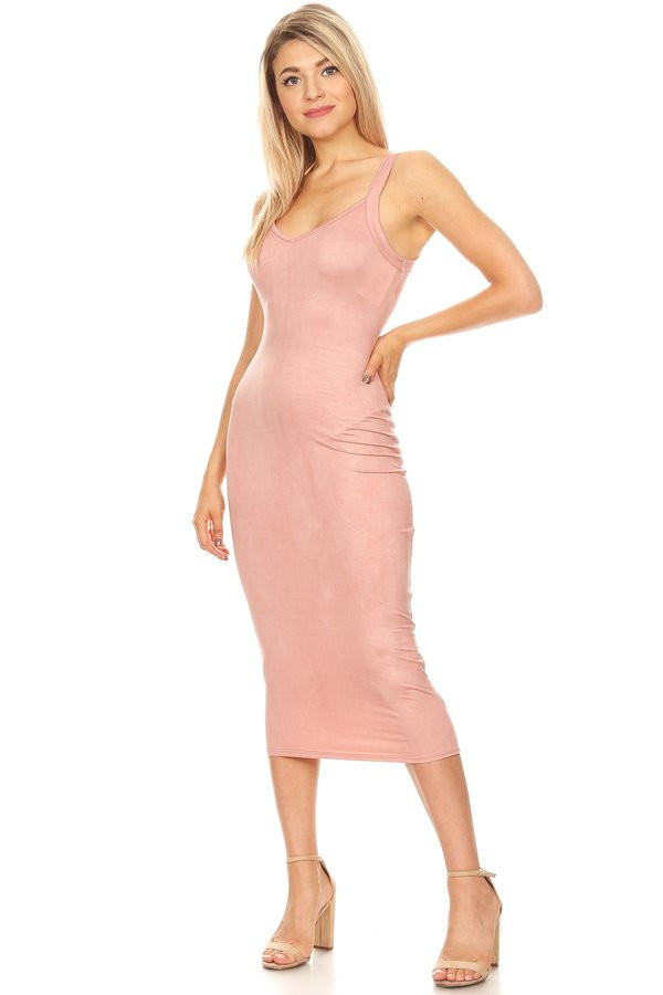 Brushed Bodycon Midi DRESS M Neon Pink