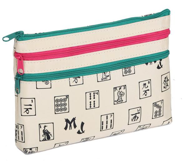 Mah Jongg Beige 3 Zipper Mah Jong Purse for Mahjong Card