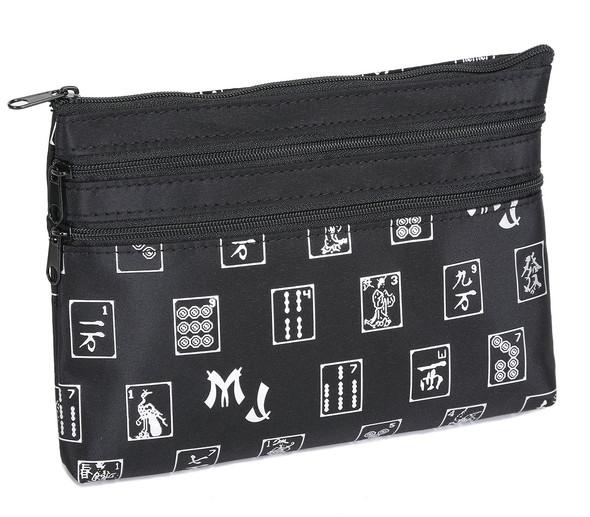 Mah Jongg Black and Silver 3 Zipper Mah Jong Purse for Mahjong Card