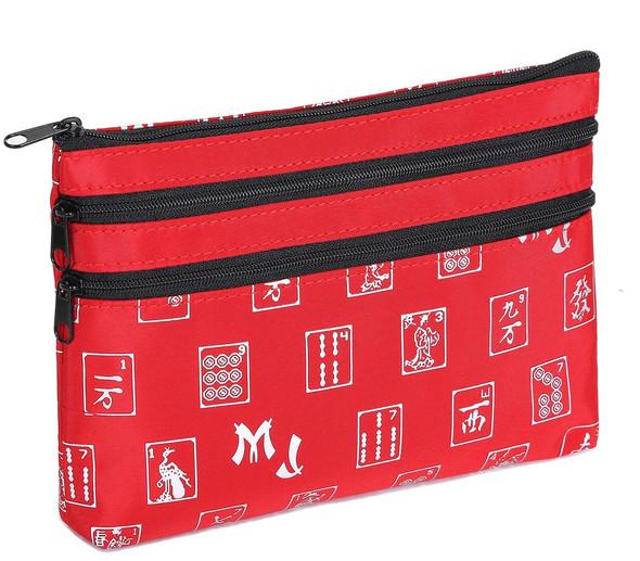 Mah Jongg Red and Silver 3 Zipper Mah Jong Purse for Mahjong Card
