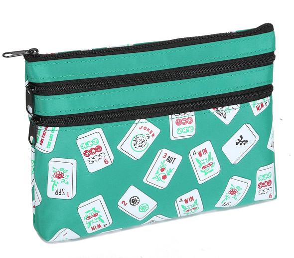 Mah Jongg Green Color Tiles 3 Zipper Mah Jong Purse for Mahjong Card