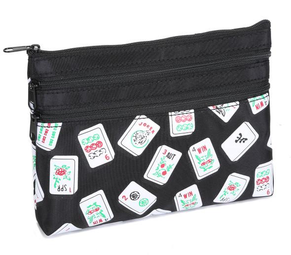 Mah Jongg Black Color Tiles -  3 Zipper Purse for Mah Jongg Card