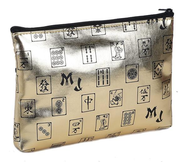 Mah Jongg Gold 3 Zipper Mah Jong Purse for Mahjong Card
