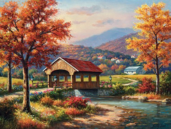 Fall at the Covered Bridge 1000 pc Jigsaw Puzzle