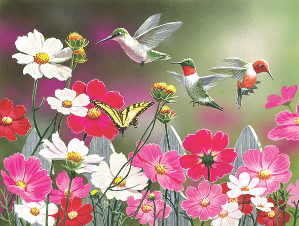 Cosmos and Hummingbirds 500 pc Jigsaw Puzzle by SUNSOUT INC