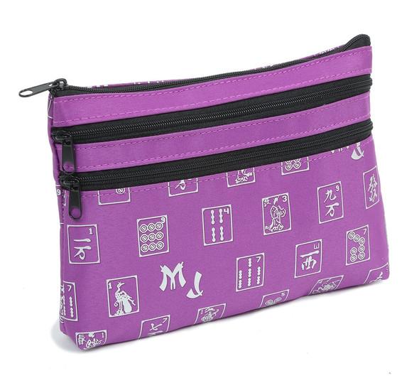 Mah Jongg Purple Logo 3 Zipper Mah Jong Purse for Mahjong Card