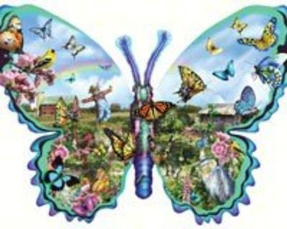 Butterfly Farm Shaped Jigsaw Puzzle by Lori Schory 1000pc