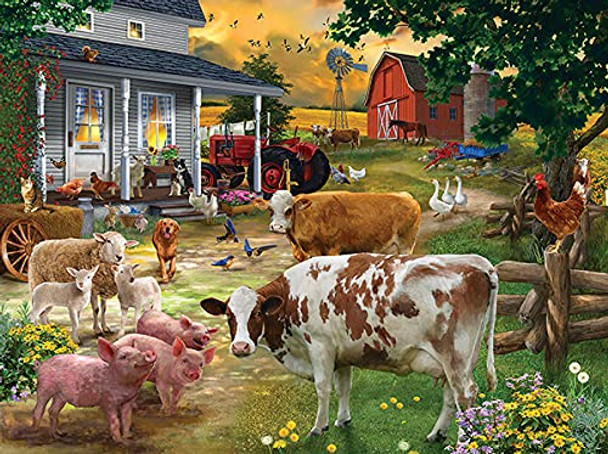 Gathering in the Farmyard 1000 pc Jigsaw Puzzle by Artist: Bigelow Illustrations # 31594