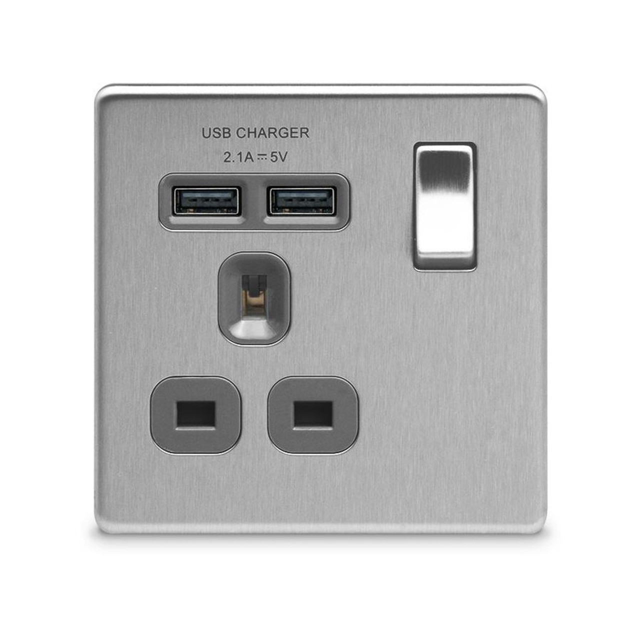 Brushed Steel BG Electrical nbs22g//5 5 x Twin 13 A Switch Socket Outlets