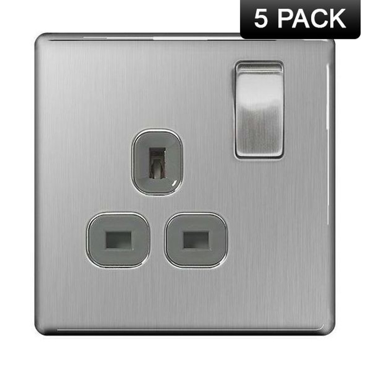 BG Nexus Screwless Brushed Steel 13A Switched Fused Spur With Neon /& Cable FBS53