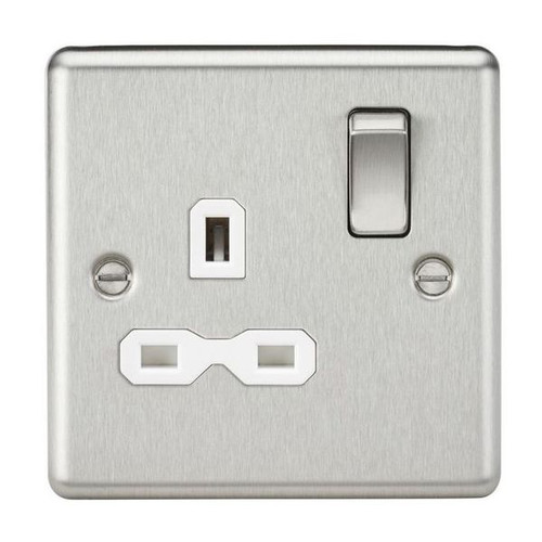 Brushed Chrome 1 Gang Double Pole Switched Socket w/ White Insert 13A