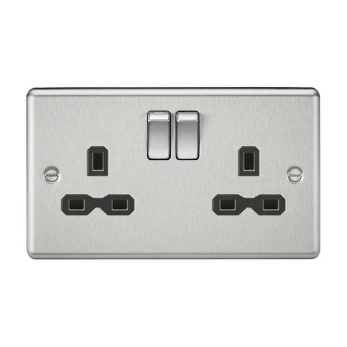 Brushed Chrome 2 Gang Double Pole Switched Socket w/ Black Insert 13A