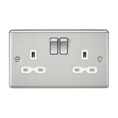 Brushed Chrome 2 Gang Double Pole Switched Socket w/ White Insert 13A