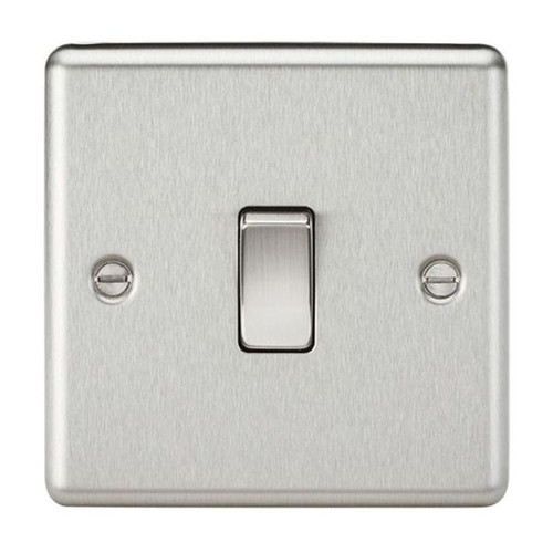 Brushed Chrome Rounded Edge 1 Gang 2 Way Plate Light Switch 10A 230V