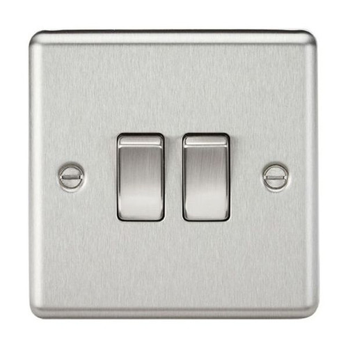 Brushed Chrome Rounded Edge 2 Gang 2 Way Plate Light Switch 10A 230V