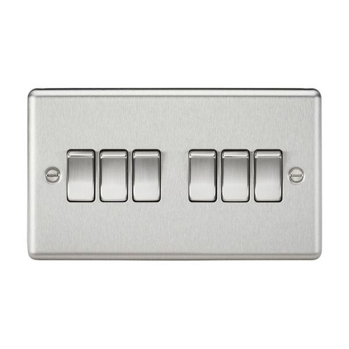 Brushed Chrome Rounded Edge 6 Gang 2 Way Plate Light Switch 10A 230V