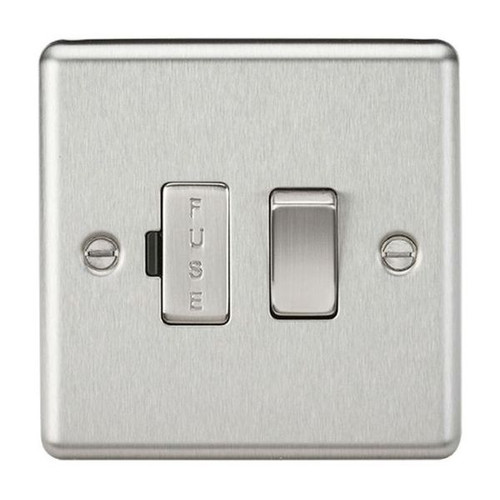 Brushed Chrome Rounded Edge Switched Fused Spur Connection Unit 13A