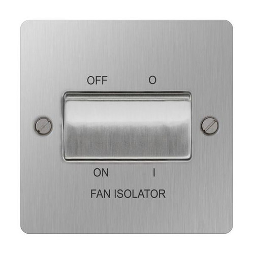 Brushed Stainless Steel Flat Fan Isolator Switch Plate