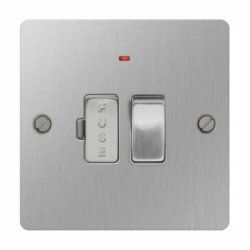 Brushed Stainless Steel Flat Fused Connection Spur Unit 13A