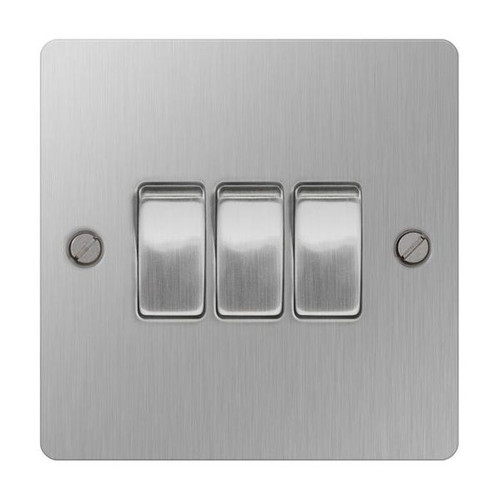 Brushed Stainless Steel Flat Light Switch Plate 3 Gang 2Way