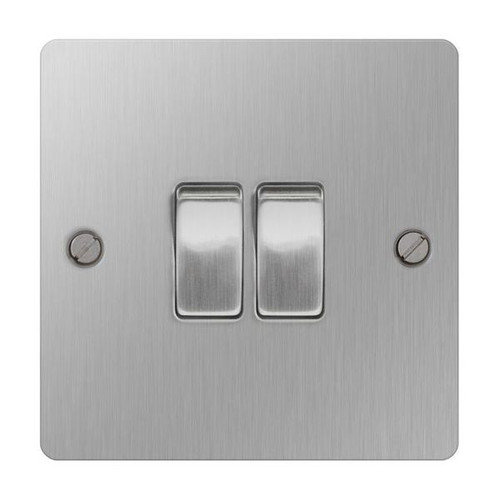 Brushed Stainless Steel Flat Light Switch Plate Double 2Way