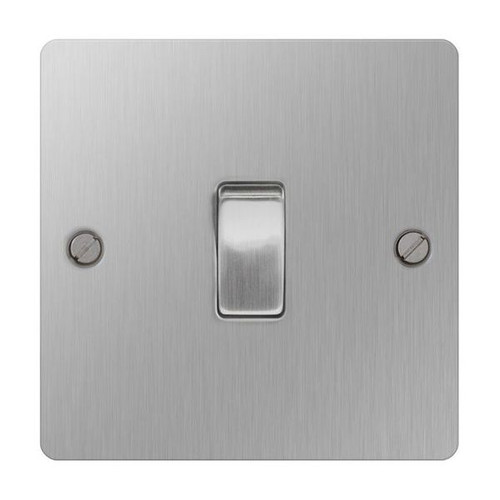 Brushed Stainless Steel Flat Light Switch Plate Single 2Way