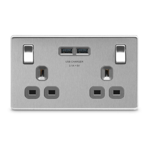 Brushed Steel Flat Plate 2 Gang Socket with Grey Insert & 2 USB 3.1A