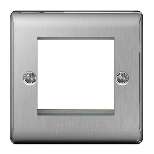 Euro-Module Brushed Steel 2 Module Square Front Plate